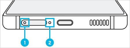 SIM카드 트레이 홈과 마이크 홈 이미지